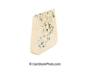 azul, queijo, fatia, molde, isolado, macio