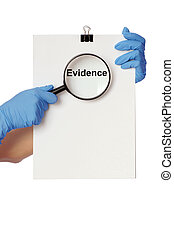 evidence - Investigator examines in details the materials of...