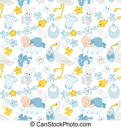 Vector Seamless Pattern with Baby Boy, Stork and Toys. Seamless Pattern for Baby Boy Shower.