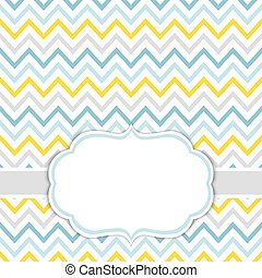 Card Template with Chevron Background.  Baby Boy Shower Vector Illustration.