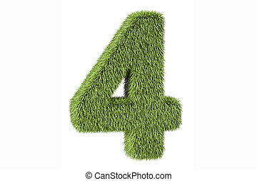 number 4 from grass, 3D rendering isolated on white...