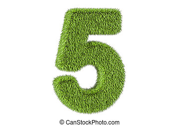 number 5 from grass, 3D rendering isolated on white...