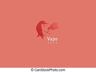 logo for vape shop girl with the electronic cigarette