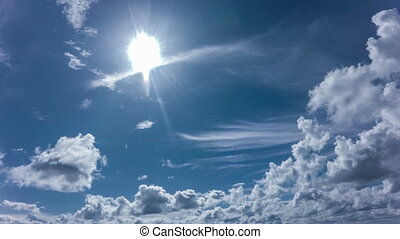Time lapse daytime sky with fluffy clouds,