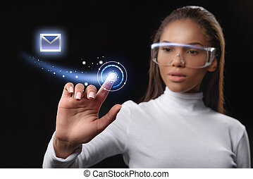 Smart african woman using futuristic social network