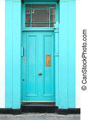 Cyan entrance door