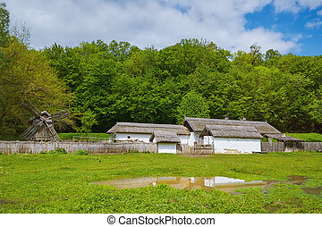 Buildings in Romanian Vilage - Yard with Buildings in...