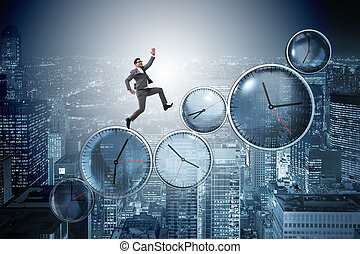 The businessman in time management concept