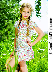 country style dress - Pretty girl in a light summer dress is...