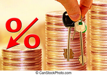 The percent symbol on the background of bars coins . The...