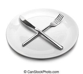 branca, vazio, prato, garfo, kni