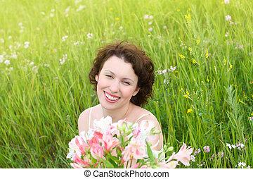 bonito, mulheres, flores