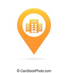 police station map pointer icon marker GPS location flag symbol