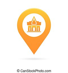 temple, monastery map pointer icon marker GPS location flag...