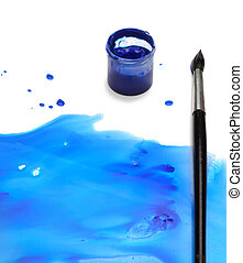 brush with abstract paint