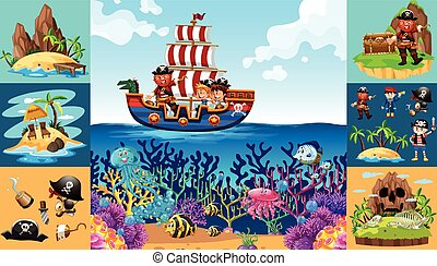 Ocean scenes with pirate on ship