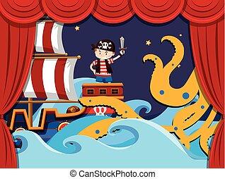 Stage play with pirate fighting kraken illustration