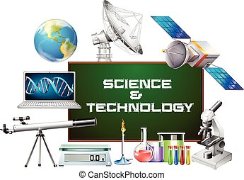 Science and technology equipments illustration