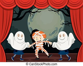 Ghosts and mummy on stage play illustration