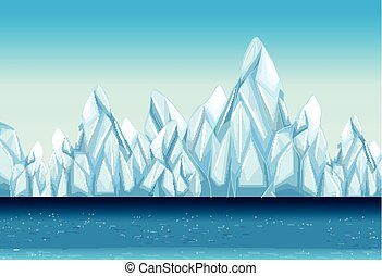 Background with glacier and ocean illustration