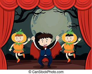 Vampire and pumpkin on stage illustration