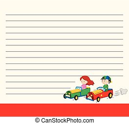 Line paper template with kids in racing cars illustration