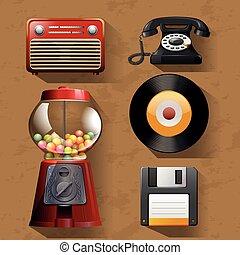 Vintage items on brown background illustration