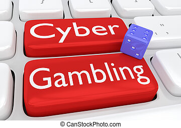 Cyber Gambling concept - 3D illustration of computer...