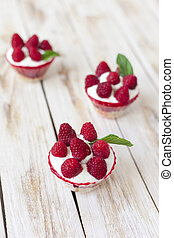 Trifle sweet dessert with raspberries. - Trifle with...