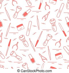 Seamless pattern with variety tools for manicure and pedicure. Personal care.