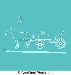 viaje, hoja, roble, Ilustración, carruaje, vector, ocio,...