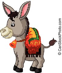 donkey carries a large bag - illustration of donkey carries...