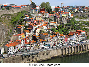 Old Porto city from bird eye view at sunny summer day,...