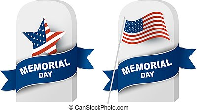 Memorial day concept of gravestone and American flag on...