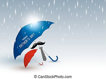 Vector happy fathers day concept or super dad of blue umbrella with mustache and necktie protection rain for red umbrella in rainy day