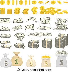 Vector set of dollar sign money and gold coins isolated on...