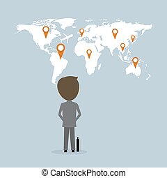 Vector business concept of businessman looking up to world map with pin