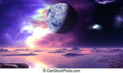 Alien Planet and Nebulae - On a dark blue starry sky a large...