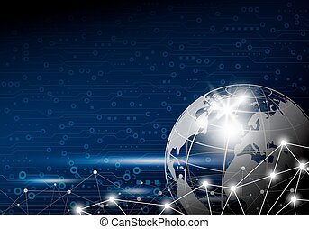 Vector business concept of global network design on digital technology background with copy space