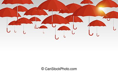 Vector red umbrella background for rainy season