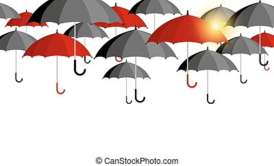 Vector red and black umbrella background for rainy season