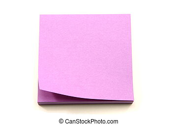 Purple Sticky Note pad with one curled up. - A purple sticky...