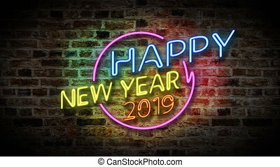 Happy new year with neon light 2019 - Happy new year neon...