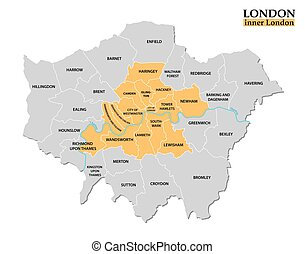 Administrative and political map of London, Statistical...