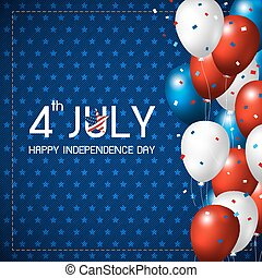 4 july happy independence day design of balloon on blue...