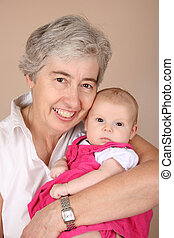 Grandmother and grandaughter - Portrait of a grandmother and...