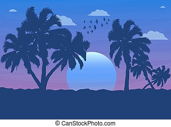 Landscape of palm trees at sunset