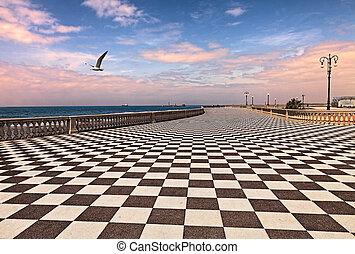 Promenade of Livorno, Tuscany, Italy - Leghorn (Livorno),...