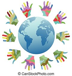 painting color hands around the world - isolated painting...