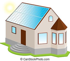 Solar panel on roof. New 3d private house with bay window....
